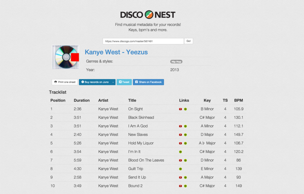This new database will tell you the key and BPM of any record on Discogs